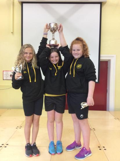 Emma L, Hayden McK and Chloe G Girls' Hockey Cup