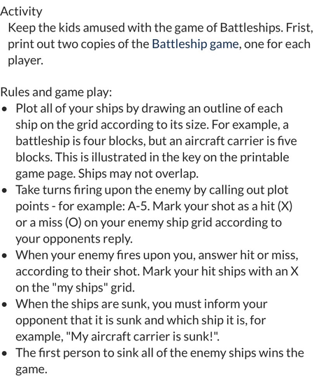 Battleships instructions