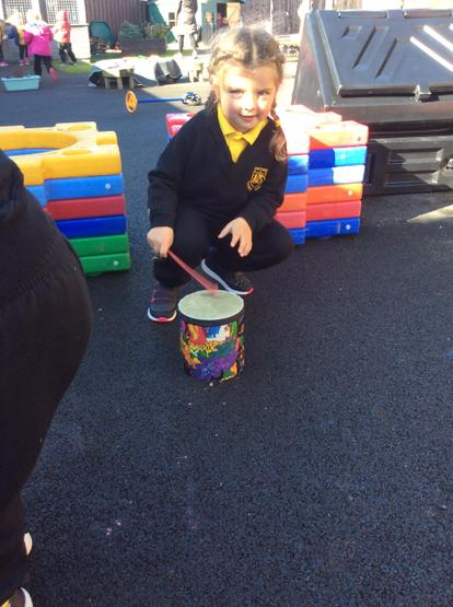 Keeping a steady beat with the little drum! 🥁