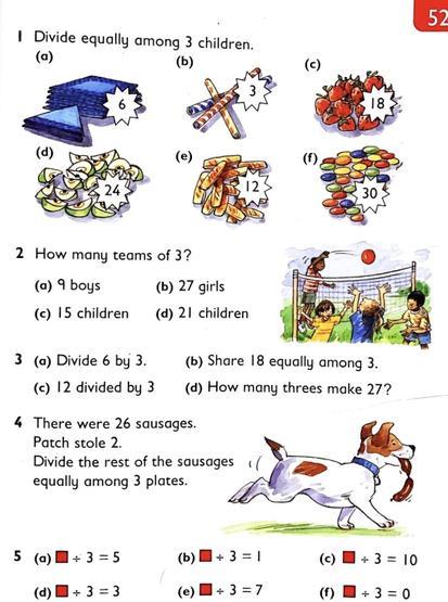 Heinemann textbook P52 - dividing by 3