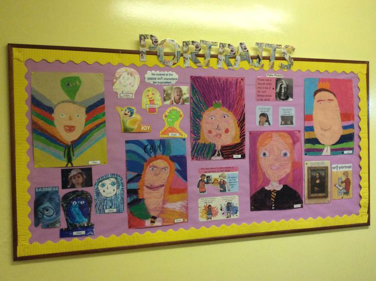P4G Self Portraits - we used oil pastels.