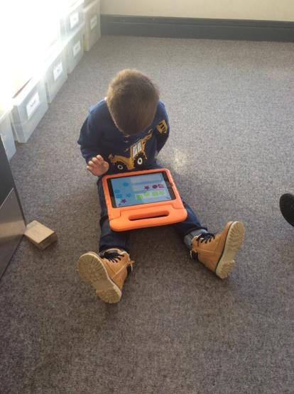 Exploring early maths activities on the iPad.