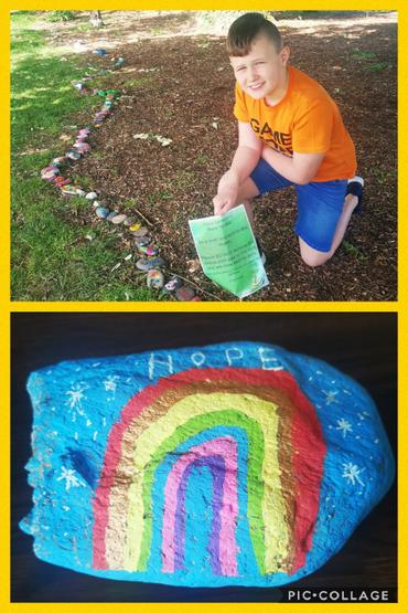 Kurt added his rock to the pebble snake in Moira!
