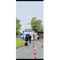 Mobile Testing Unit set up in school carpark