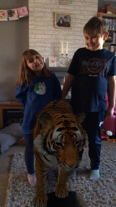 Having fun with a tiger!