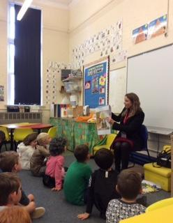 Year 2 enjoying a story from author Lee Sterry.