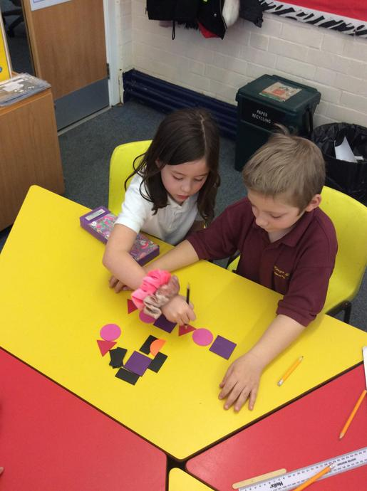 We made patterns using 2D shapes
