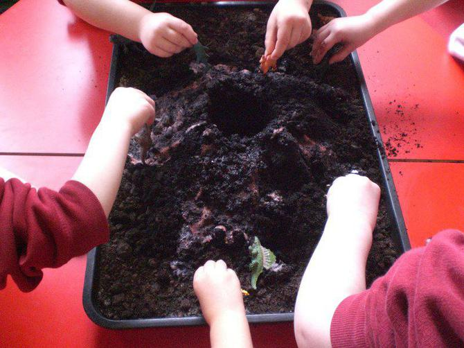Afterwards, some children enjoyed playing with mud