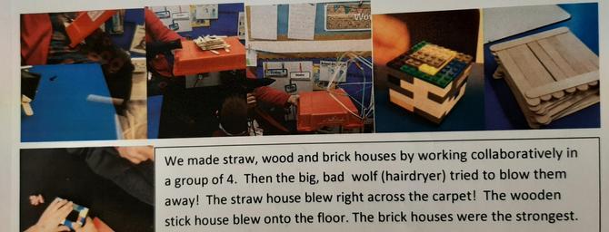 We built houses using different materials. A hairdryer wolf tried to blow them away!