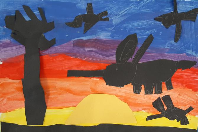 Painted African sunsets using collage silhouettes.