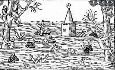 A woodcut depicting the scene after the flood.