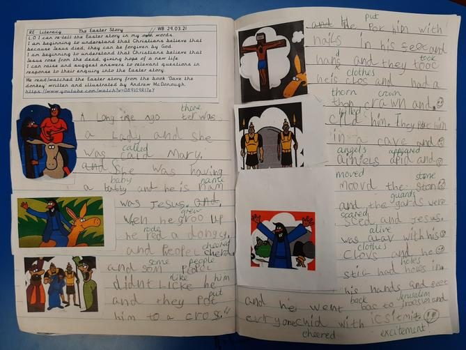 We re-told the Easter story using images from 'Dave The Donkey' by Andrew Mcdonough.
