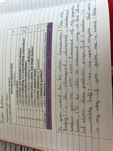 Writing a persuasive speech in role as Dooby and then presenting it to the class