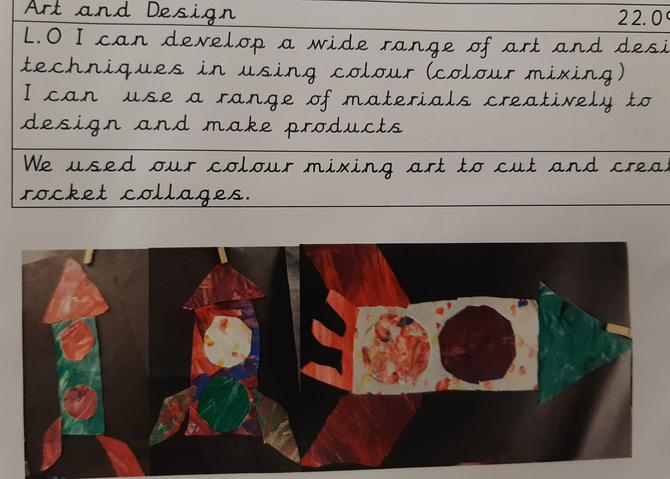 Using our new colours to make rocket collages.