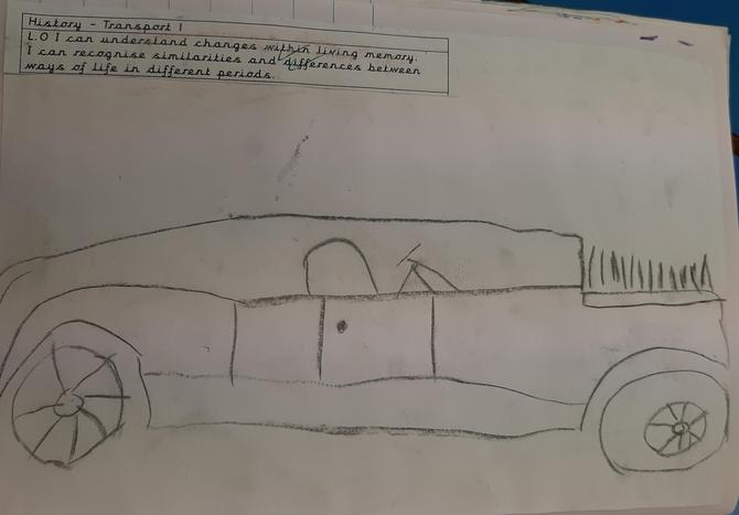 We drew charcoal drawings of a car from the 1920's.