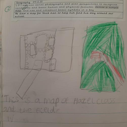 We drew our own map of the classroom and field.
