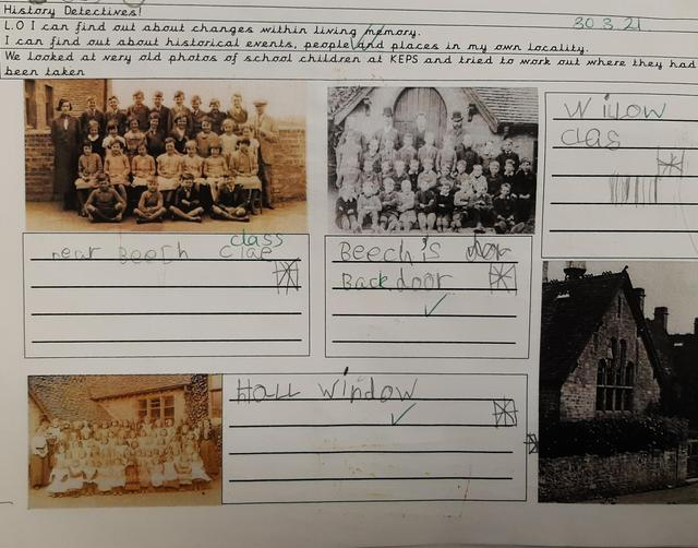 Finding out about changes to our school using photos from The Kingsbury Time Travellers.