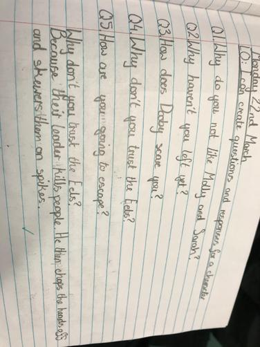 Creating questions to ask a character, and answering in role