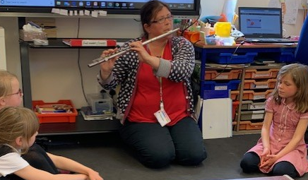 We listened to the flute.  It was the same sound as the birds from 'Whistleless'