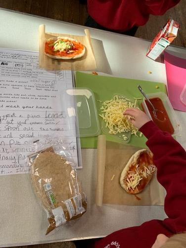 We wrote our own commands to help us make our healthy pizzas.