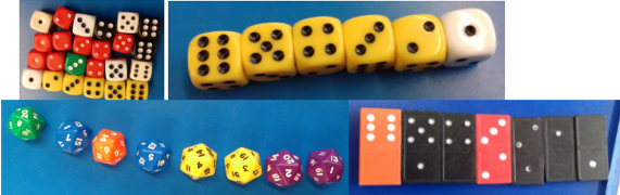 Ordering dice and domino spots and counting forwards and backwards in ones.