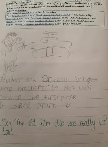 We researched the Wright brothers and made paper planes.