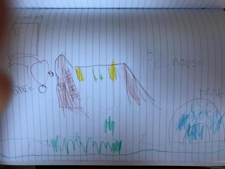 Luther drew a super picture from his window.