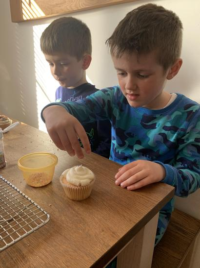 Beau has been busy baking with his family.