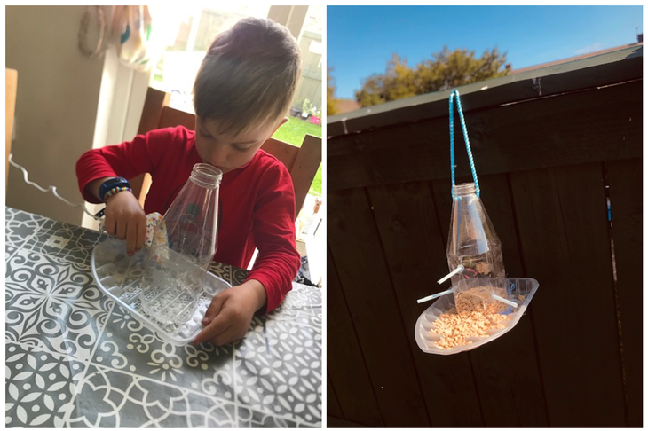 Wow Oliver made his bird feeder too