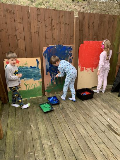 Beau really enjoyed painting a huge picture.