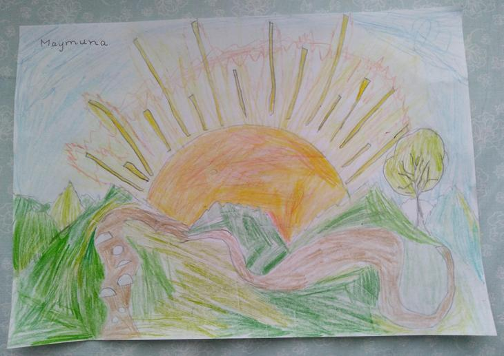 Maymuna drew a lovely sunset