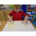 Listening to music and making big circles.