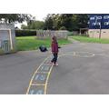 I ran around the playground with my kite