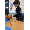 I carved my pumpkin.