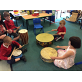 Trying some Japanese drumming