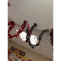 The Elf had put tinsel up in the classroom.