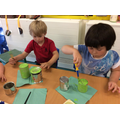 Making our wind chimes for outside