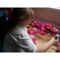 Making blossoms for our display.