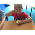 Mmm... tasting our home made ice cream, delicious!