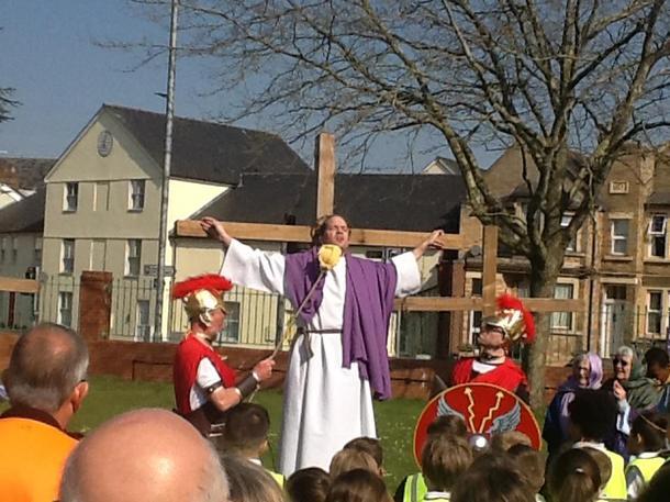 Soldiers mock Jesus