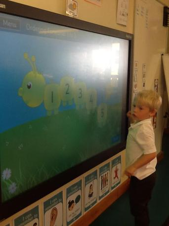 Maths game on the Interactive White Board.