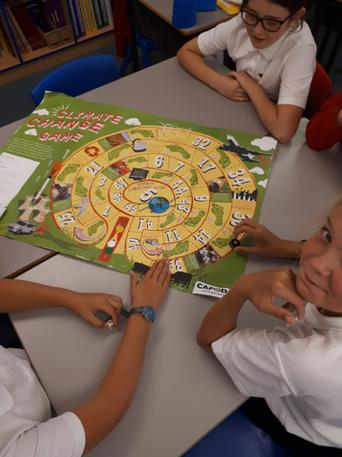 Some of Yr.6 play CAFOD's Climate Change game.