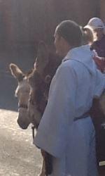 Jesus rides into Jerusalem on a donkey