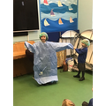 Testing out the surgical gown!