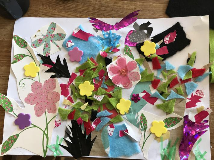 Grace's collage inspired by Henri Rousseau's work