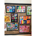 A display of our completed art work