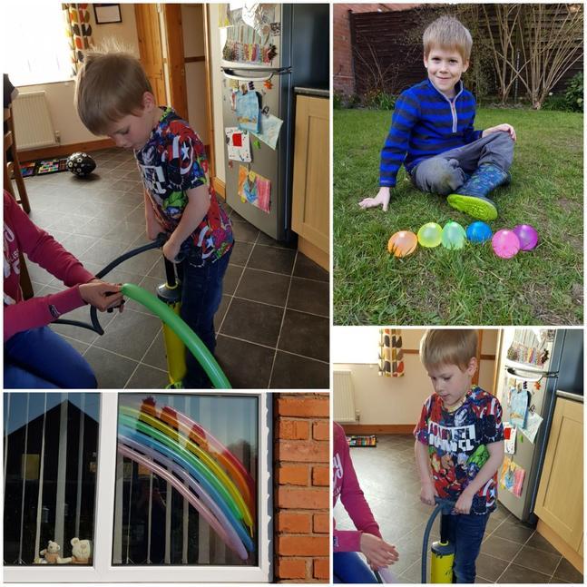 Balloons to make a rainbow.