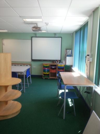 Quiet room is L shaped with smart board
