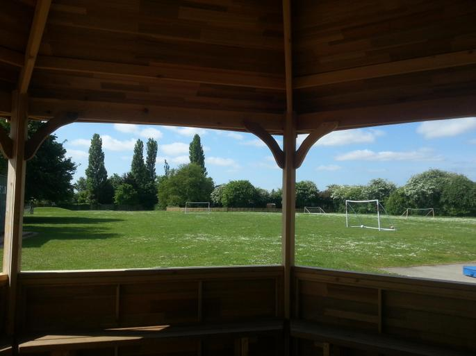 View from outdoor classroom of grass pitches/field