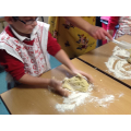 We kneaded the biscuit dough.